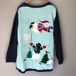 Ugly Christmas Sweater Cardigan Plus Size Snowman